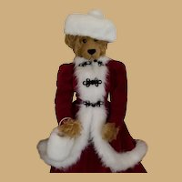 Vintage Christmas Large Plush Bear