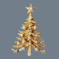 Vintage Signed MYLU Christmas Tree Brooch