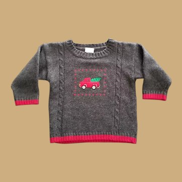 Vintage Red Truck Christmas Sweater for Child, Doll or Teddy Bear