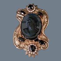 Spectacular Vintage Black Cameo Brooch