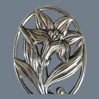 "Vintage Signed ""DANECRAFT"" Sterling Silver Lily Flower Brooch"