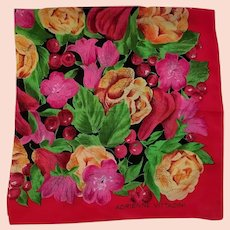 Vintage Signed Adrienne Vittadini Silk Scarf