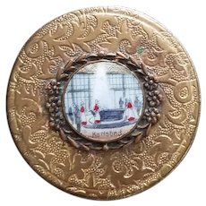 "Vintage Brass and Porcelain ""Karlsbad"" Compact"