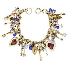 MOTHER'S DAY SPECIAL PRICE Vintage Loaded Heart and Key Charm Bracelet