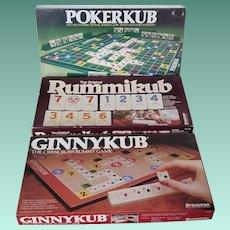 Lot of Three Vintage Games - Pokerkub, Ginnykub, Rummikub
