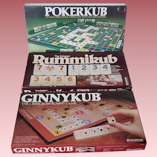 Lot of Three Vintage Games - Pokerkub, Ginnykub, Rummikub