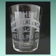 "Vintage Hand Etched Advertising Shot Glass - ""The Independent Distilling Co."""