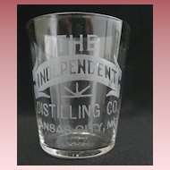 "Vintage Hand Etched Advertising Shot Glass - ""The Independent Distilling Co."""