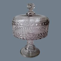 Large Antique Glass Compote with Lid