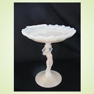 Vintage Cambridge Glass Crown Tuscan Nude Compote