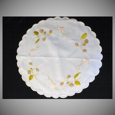 Antique Victorian Society Silk Embroidery Berries & Flowers Doily