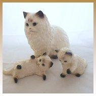 Vintage Hagen Renaker Set of Three: Large Cat & Kittens