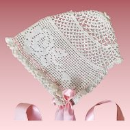 Vintage Hand Crocheted Baby or Doll Bonnet