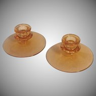 Vintage Pair of Fostoria Amber Candlesticks