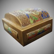 Old Brass and Enamel Box from China