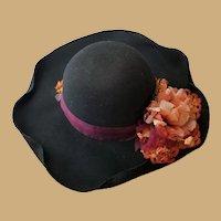 Vintage Artisan Made Felt and Flower Hat