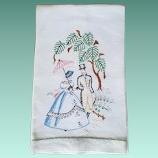 Vintage Linen Hand Embroidered Guest Towel