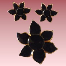 Vintage Floral Enamel Demi Parure