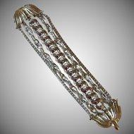 """Vintage Signed """"ART"""" Five Strand Silver Tone Bracelet"""