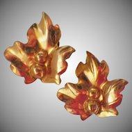 Vintage Signed Sterling Silver Gold Wash Leaf Earrings