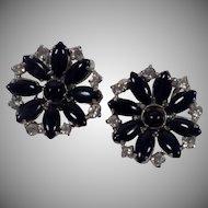 Vintage Silver Tone, Black Glass and Rhinestone Earrings
