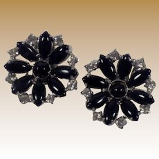 Vintage Silver Tone, Black Glass and Rhinestone Earrings