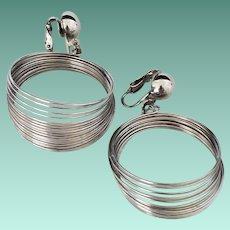 Vintage Silvertone Space Age or Slinky Earrings