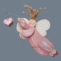 "SALE! Scarce Vintage Artisan Signed ""Myra"" Original Angel Decoration"