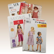 Vintage Lot of Four Patterns for Young Girls