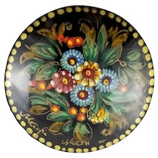 Vintage Handpainted Russian Lacquer Brooch