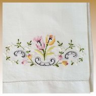Vintage Petit Point and Fine Hand Embroidered Guest Towel