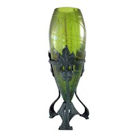 Antique Circa 1890 Rindskopf  Vase In Ornate Metal Armature