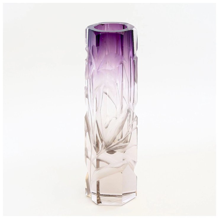 Antique Moser Intaglio Cut Clear To Amethyst Vase The Vault Fine