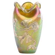 Fabulous Antique Loetz Sterling Silver Overlay Vase