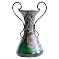Magnificent Circa 1890 Antique Art Nouveau Art Glass Vase In Metal Armature By Rindskopf