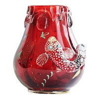 Rare Circa 1900 Moser Ruby Red Vase With Enameled Fish