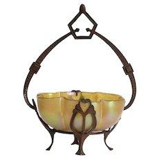 Antique Loetz Iridescent Bowl In Metal Basket Armature