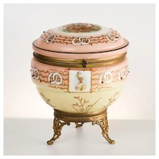 Antique Circa 1890 French Porcelain Scenic Jewel Vanity Box