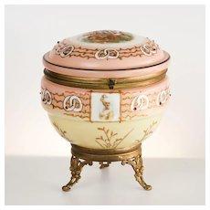 Antique Circa 1890 French Porcelain Scenic Jewel Vanity Box
