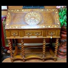 Circa 1890 Ornate Antique Inlaid Drop Front Desk