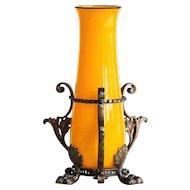 Circa 1905 Loetz Tango Vase In Rare Metal Armature