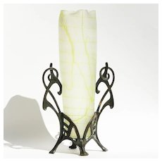 Circa 1890 Antique Kralik Art Nouveau Vase In Metal Mount