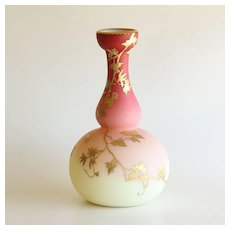 Antique Circa 1880 Victorian Webb Enameled Peachblow Vase