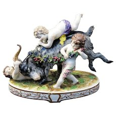 Antique 19th Century Royal Vienna Porcelain Goat With Putti
