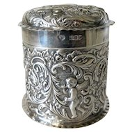 Circa 1900 Art Nouveau Sterling Box With Cherubs & Birds