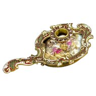 Circa 1880 French Rococo Enameled Chamber Stick