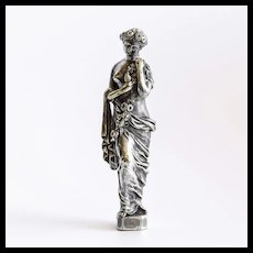 Circa 1860 French Silvered Bronze Figural Wax Seal