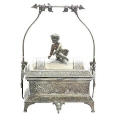 Circa 1860's Victorian Silver Plate Cherub Mechanical Jewel Box