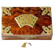 Antique English Burl Walnut Playing Card Box