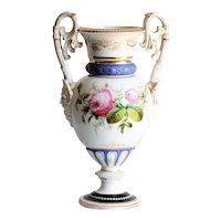 Circa 1880 Antique Victorian Paris Porcelain Rose Motif Vase